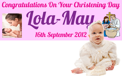 Personalised Christening Celebration Banners